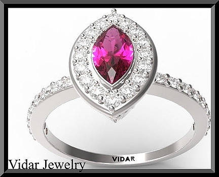 Beautiful Ruby And Diamond 14k White Gold Marquise Engagement Ring by Roi Avidar