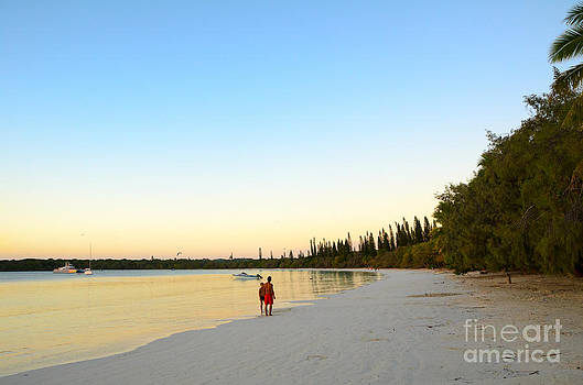 Beautiful tropical bay beach and sunset - Ile des Pin - New Caledonia - South Pacific by David Hill