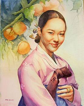 Beautiful Woman With Hanbouck by Eun Yun