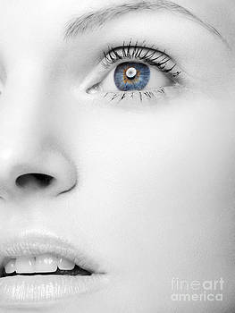 Beautiful Woman's Black and White Face with Blue Eye by Oleksiy Maksymenko