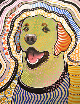 Amy Giacomelli - Bella ... abstract dog art ... Yellow Labrador