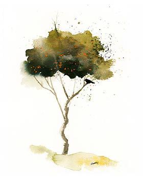 Bent Tree With Blackbird by Vickie Sue Cheek
