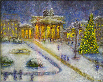 Berlin Brandenburg Gate in Winter Night by Barbara Anna Knauf