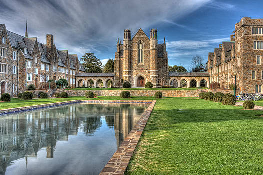 Berry College Ford Hall with the reflection pool and dormitory by Gerald Adams