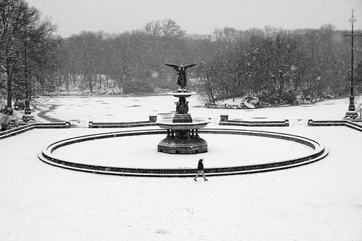 Bethesda Angel In Snow by Dave Beckerman