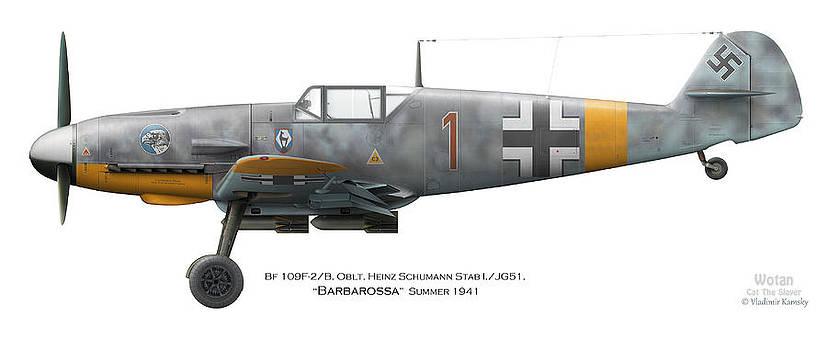 Bf 109F-2/B. Oblt. Heinz Schumann Stab I./JG51. Barbarossa. Summer 1941 by Vladimir Kamsky