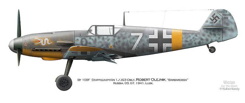 Bf 109F-2. Staffelkapitan 1./JG 3 Oblt. Robert Olejnik. 3 July 1941. Lyzk. Russia. 1941 by Vladimir Kamsky