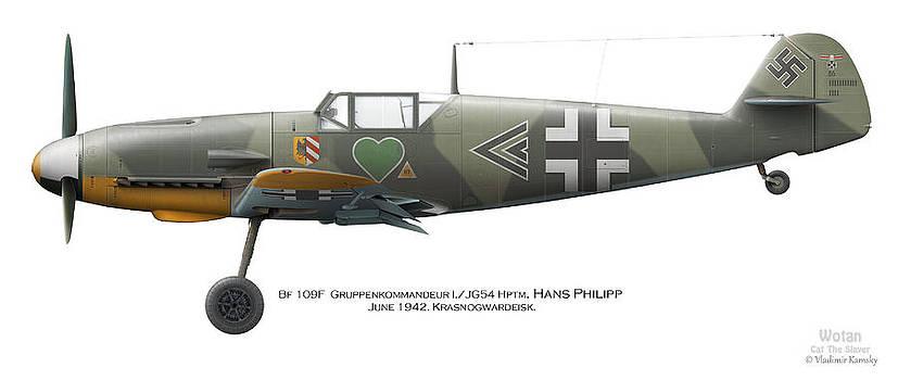 Bf 109F Gruppenkommandeur I./JG54 Hptm. Hans Philipp. June 1942. Krasnogwardeisk by Vladimir Kamsky