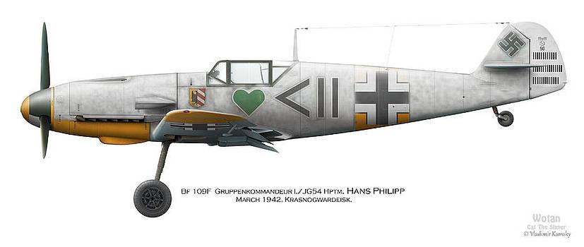 Bf 109F Gruppenkommandeur I./JG54 Hptm. Hans Philipp. March 1942. Krasnogwardeisk by Vladimir Kamsky