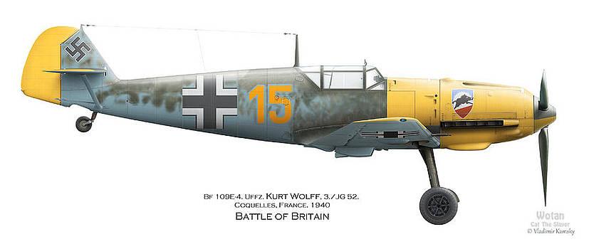 Bf109E-4. Uffz. Kurt Wolff. 3./JG 52. Coquelles. France. Battle of Britain 1940 by Vladimir Kamsky