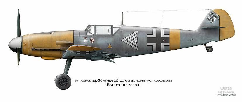 Bf109F Geschwaderkommodore JG 3 Maj. Gunther Lutzow Barbarossa 1941 by Vladimir Kamsky