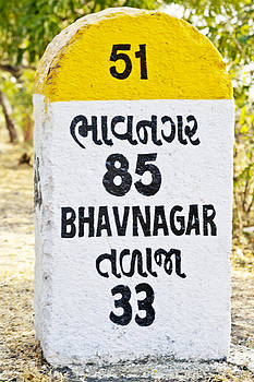Kantilal Patel - Bhavnagar 85 kilometer milestone direction sign