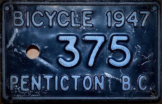 Guy Hoffman - Bicycle Licence Plate - Vintage 1947 Penticton