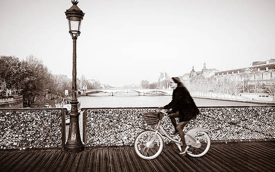 Bicycling the Pont des Arts by Joseph Walsh