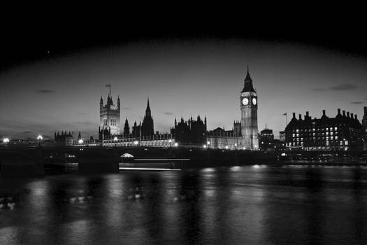 David French - Big Ben and the houses of Parliament  bw