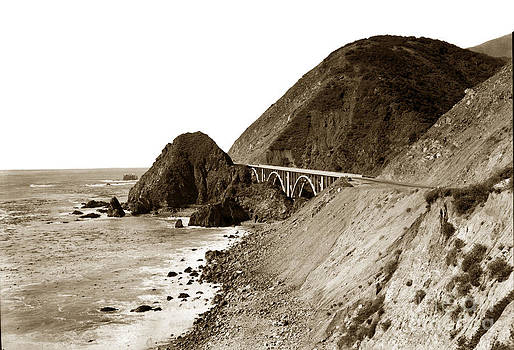 California Views Mr Pat Hathaway Archives - Big Creek Bridge double arched concrete bridge on Highway 1. About 40 miles South of Monterey  1935