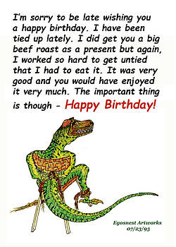 Big Dinosaur Tied Up Birthday by Michael Shone SR