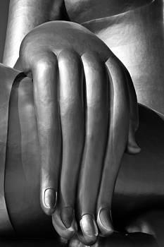 Big hand of big Buddha  image black and white.  by Kobchai Sukruean