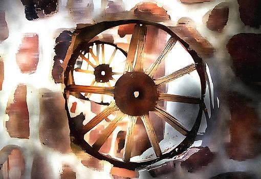 Big Wheel Wall by Barbara D Richards