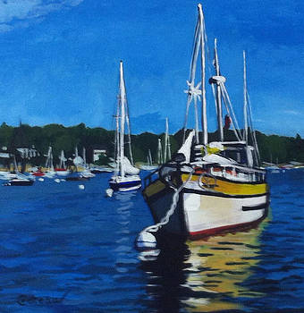 Big Yellow on the Mooring by Jane Croteau