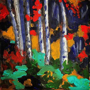 Birch in the Woods by Dilip Sheth