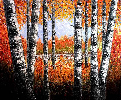 Birches Forest palette knife painting by Georgeta Blanaru
