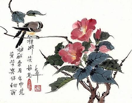 LINDA SMITH - Bird on a Flowering Hibiscus Branch