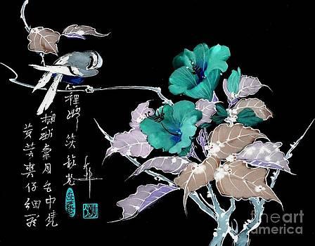 LINDA SMITH - Bird on Flowering Hisbiscus Branch