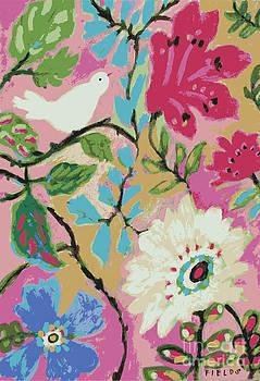 Bird with Pink Hibiscus by Karen Fields