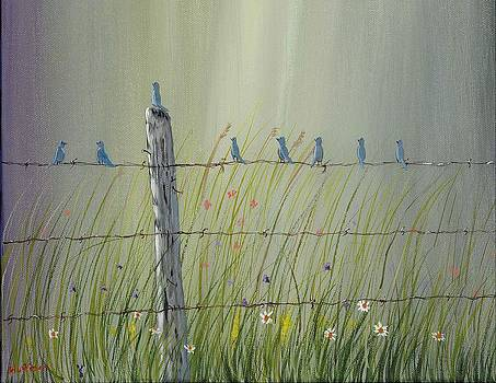 Birds on a fence by Ray Huffman