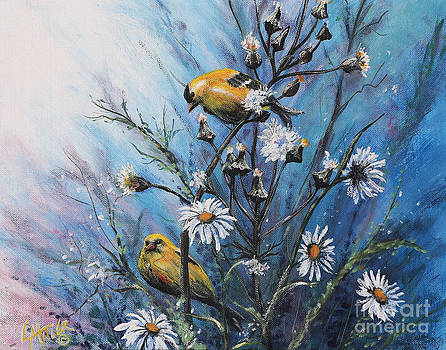 Birds With Daisies by Rita Miller