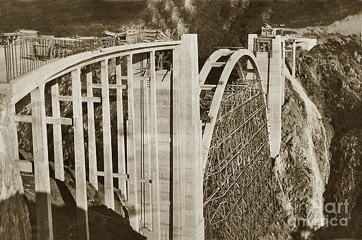 California Views Mr Pat Hathaway Archives - Bixby Creek Bridge under construction Big Sur Coast On Highway One Calif. 1932