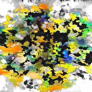Black And Yellow Abstract Art by Arelys Jimenez