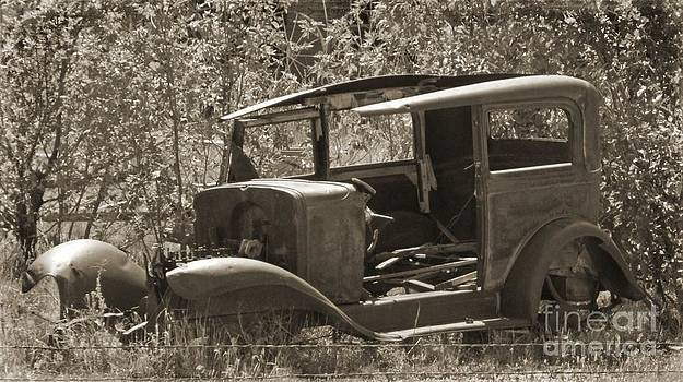 John Malone - Black and White Abandoned Car