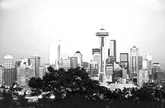 Black and White Abstract City Photography...Seattle Space Needle by Amy Giacomelli