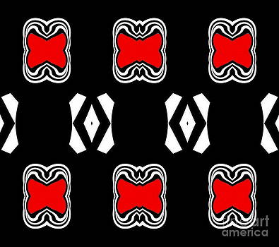 Pattern Black White Red Art No.190. by Drinka Mercep