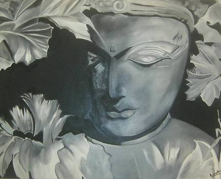 Black and White buddha by Anuradha Gupta