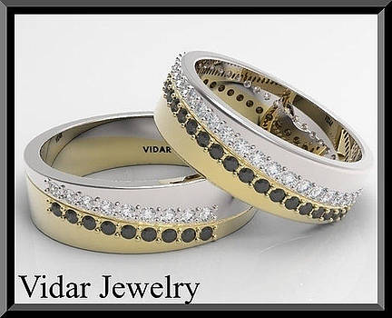 Black And White Diamond 14kt Yellow And White Gold Wedding Band Set by Roi Avidar
