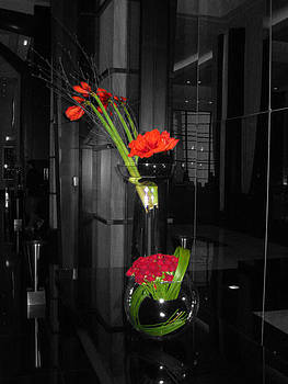 Black and White Floral Arrangement with Red Color Splash by Willie Chea