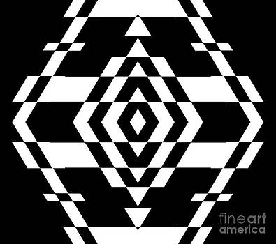 Black and White Geometric Op Art No.279. by Drinka Mercep