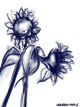 Black and White Sunflowers by Maureen Kealy
