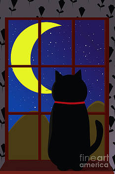 Black Cat In The Window by Sharon Dominick