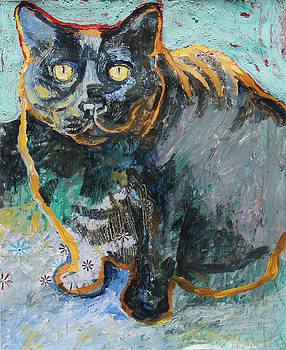 Black Cat Looking Up by Yvonne Gaudet