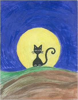 Black cat on the hill by Liz Rosales
