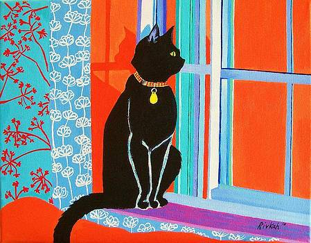 Black Cat on The Windowsill by Rivkah Singh