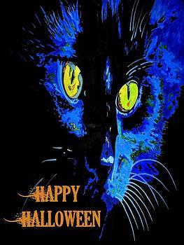 Tracey Harrington-Simpson - Black Cat Portrait with Happy Halloween Greeting