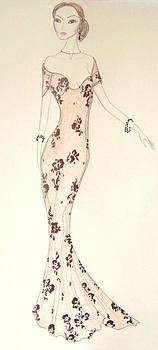 Black Floral and Mandarin Gown by Christine Corretti