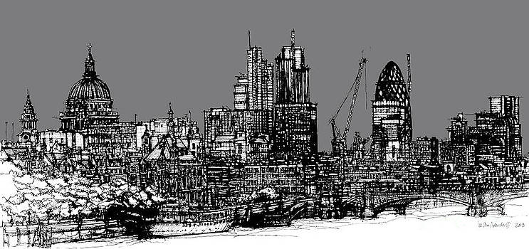 Dark Ink London skyline with grey sky by Adendorff Design