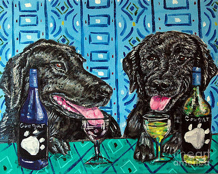 Black Labs at the Wine Tasting by Jay  Schmetz