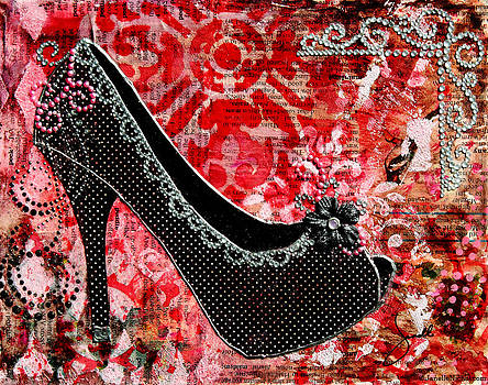Janelle Nichol - Black polka dot shoes with red abstract background